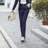 美之札[8X102-PF]藍直條紋直筒OL長褲~上班/通勤