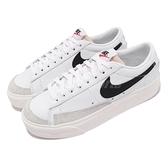 Nike 休閒鞋 Blazer Low Platform 白 黑 女鞋 厚底 增高 麂皮【ACS】 DJ0292-101