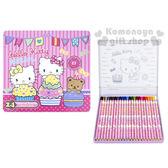 〔小禮堂〕Hello Kitty 盒裝24色鉛筆《粉.Mimmy.小熊.條紋.鐵盒》採用日本顏色芯蕊 4891595-95703