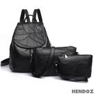 多件組-HENDOZ.羊皮皮革經典翻蓋後背超值組(黑色)12#