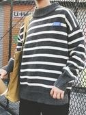 針織毛衣 半高領條紋毛衣男寬鬆韓版潮流個性針織衫冬季厚款學生青少年外套【寶媽優品】