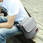 韓版潮流男士休閒小背包斜背包戶外單肩包男包復古帆布包男斜背包   傑克型男館