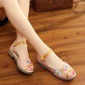 新款老北京繡花涼鞋 民族風復古刺繡魚嘴露趾布鞋休閒單鞋女夏