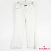 【SHOWCASE】中腰修身剪裁小開岔蕾絲褲襬小喇叭長褲(白)