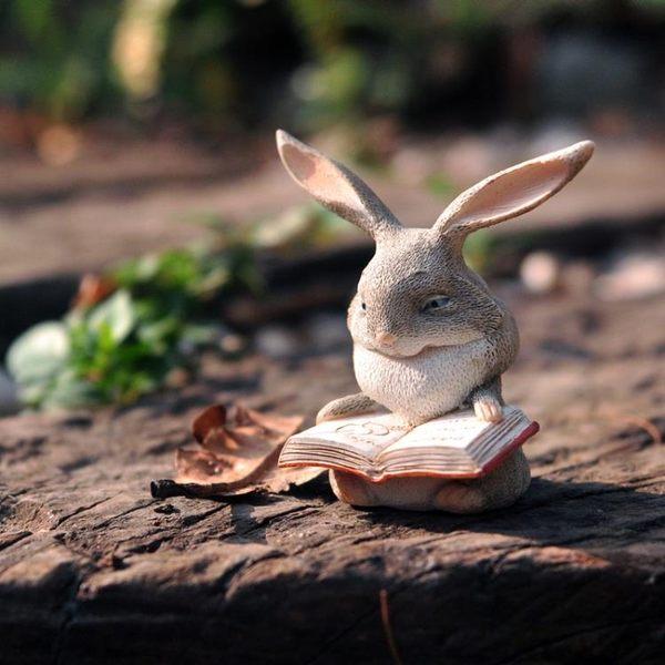 可愛兔擺件樹脂工藝品花園陽臺創意tz3339【歐爸生活館】