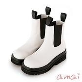 amai經典個性厚底切爾西靴(短筒) 白