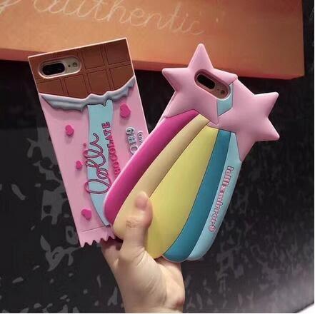 【SZ24】ins網紅同款彩虹巧克力星星貝殼iPhone7/8/7plus手機殼6s矽膠軟殼