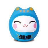 【金石工坊】七小福達摩貓-藍色健康 招財貓 陶瓷擺飾 開運擺飾 辦公開運 公仔