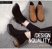 短靴馬丁靴女英倫風短靴側拉鏈粗跟中跟裸靴女靴 米蘭潮鞋館