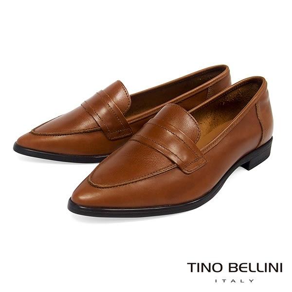 Tino Bellini 義大利進口純色簡約尖楦微跟樂福鞋 _ 棕 TF8501 歐洲進口款