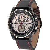 【台南 時代鐘錶 POLICE】義式潮流 強悍風格品味 透視齒輪三眼日期腕錶 14688JSBS-04 皮帶 銀/黑鋼 46mm