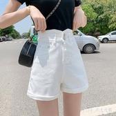 超高腰牛仔短褲女2020夏季新款潮ins顯瘦寬鬆a字白色網紅彈力卷邊 KP1893【Pink 中大尺碼】
