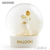 SEEROSE告白氣球熊水晶球桌面擺件情人節送女生友表白生日禮物  一米陽光