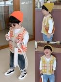 棉小班男童毛線背心兒童素色時尚無袖馬甲男孩格子針織開衫秋裝潮 新年特惠