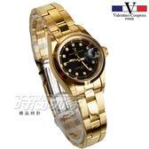 valentino coupeau范倫鐵諾 典雅晶鑽時刻指針錶 防水手錶 石英錶 女錶 黑x金 N12168K黑金小