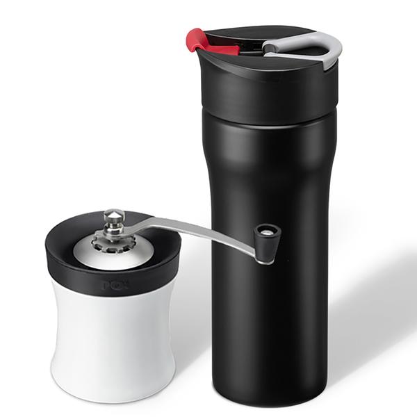 【PO:Selected】手做咖啡保溫二件組(手動式研磨器/便攜法壓保溫咖啡杯16oz-共4色)