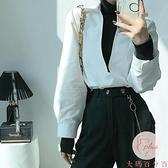 氣質假兩件上衣疊穿設計感法式小眾白襯衫春秋【大碼百分百】
