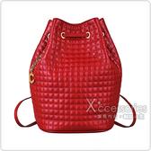 CELINE C Charms金屬LOGO壓印格紋設計小牛皮束口後背包(紅)