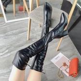 膝上靴 過膝長靴女 粗跟彈力瘦瘦靴 新款黑色高跟長筒靴顯瘦加絨女靴子 店慶降價