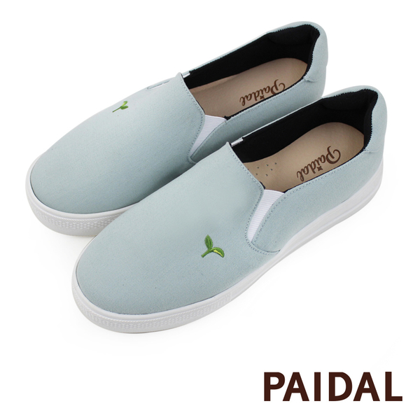 Paidal 草綠色保特紗厚底休閒鞋加硫鞋-小豆苗