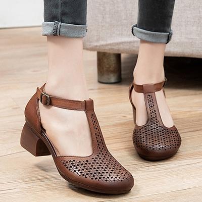 真皮手工女鞋 側空包跟休閒鞋 丁字扣帶涼鞋/2色-夢想家-標準碼-0409
