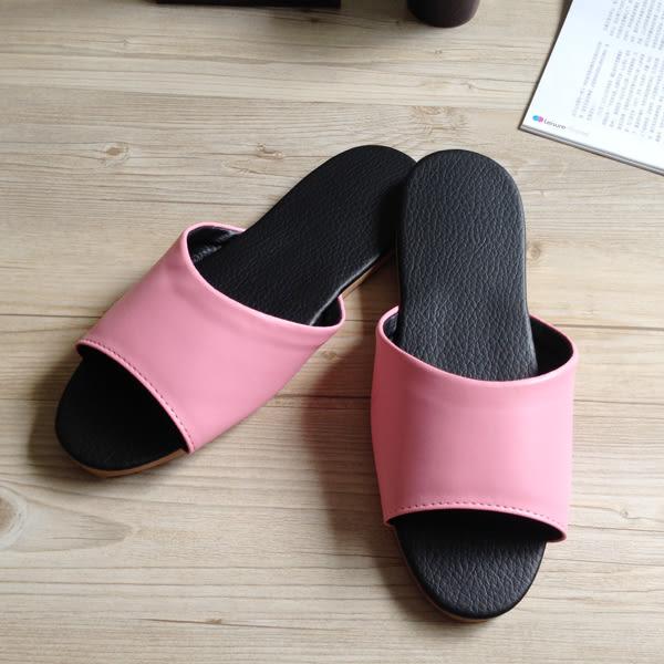 台灣製造-簡約系列-純色皮質室內拖鞋 - 玫瑰粉