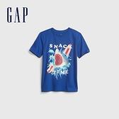 Gap男童 純棉創意印花短袖T恤 683398-藍色