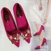 婚鞋女2019新款細跟包跟中式結婚伴娘鞋少女性感淺口很仙的高跟鞋 JY11695【潘小丫女鞋】