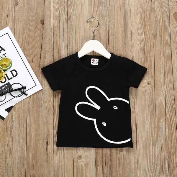 寶寶小兔短袖T恤 夏裝新款女童童裝兒童圓領上衣 伊衫風尚