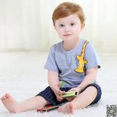 短袖 0-1-3歲男女寶寶短袖棉質T恤嬰幼兒夏裝小鹿貼布圓領上衣 2款