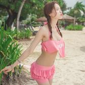 比基尼 泳衣 泳裝     /泳衣 粉色荷葉邊三件套繞頸泳裝【SF16008】 BOBI  04/14