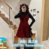 背帶裙連身裙洋裝吊帶裙套裝 紅色連衣裙子女小個子法式裙子 風之海