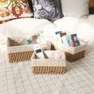 桌面收納盒化妝品鑰匙零食茶幾雜物客廳玄關家用藤編收納筐編織框