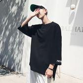 七分袖7夏季T恤男士寬鬆學生短袖韓版個性潮流半袖5五分袖上衣服【快速出貨85折】