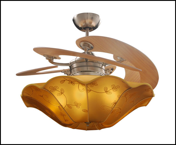 VENTO芬朵吊扇 BELLE EPOQUE 美好年代系列 56吋 手工繡花燈罩 淺色橡木/深色桃花心木葉片