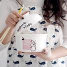 降價兩天-陶瓷泡面碗帶蓋家用筷勺套裝學生...