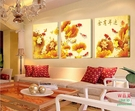 【優樂】無框畫裝飾畫中式年年有余客廳沙發背景三聯抽象臥室壁畫