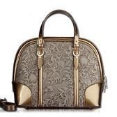 手提包-清晰質感紋理提花肩背女貝殼包2色72an23【巴黎精品】
