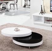 多功能茶几創意個性折疊旋轉伸縮橢圓形茶幾小戶型客廳黑白色烤漆電視櫃茶桌SP全館免運
