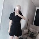 西裝裙 雙排扣西裝洋裝女法式夏季小個子收腰顯瘦氣質輕熟風短袖西服裙-Ballet朵朵