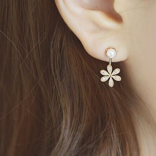 【NiNi Me】 夾式耳環 氣質甜美小雛菊花朵水鑽珍珠夾式耳環 夾式耳環 E0008