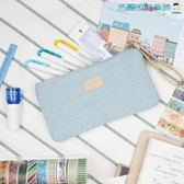 牛仔布筆袋韓國學生化妝包旅行收納包