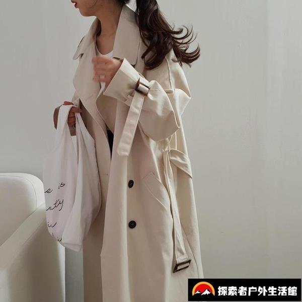 風衣女中長款顯瘦流行外套寬鬆廓形女裝【探索者戶外】