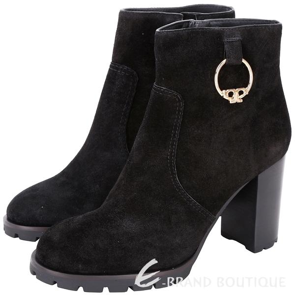 TORY BURCH Sofia Lug Sole T飾金屬環麂皮粗跟短靴(黑色) 1810426-01