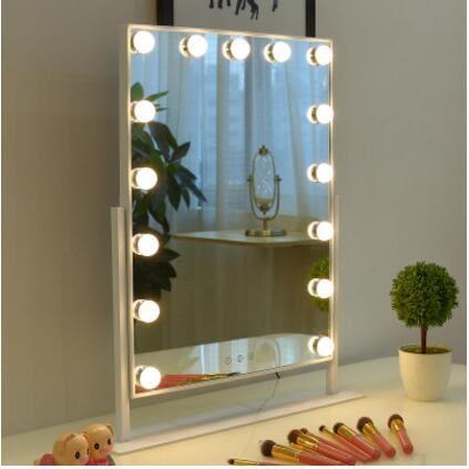 鏡子大號三色LED化妝鏡帶燈泡台式便攜結婚梳妝鏡燈直播美顏補妝鏡燈【快速出貨】