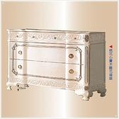 【水晶晶家具/傢俱首選】JF0515-5仙雅娜4尺法式桃花心實木手工雕刻象牙白銀邊斗櫃