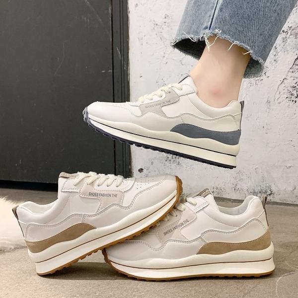 休閒鞋.韓風流行簡約拚色繫帶厚底球鞋.白鳥麗子