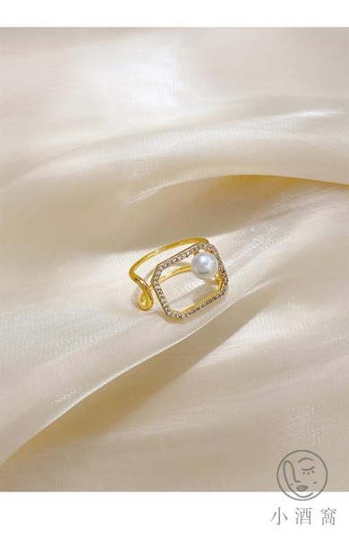 食指戒設計感珍珠戒指女氣質幾何方形【小酒窝服饰】