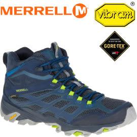 【MERRELL 美國 MOAB FST MID GORE-TEX 藍色 健行鞋】ML36889/防水健行鞋/休閒鞋/登山鞋/運動鞋★滿額送