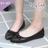 大尺碼女鞋-凱莉密碼-新款簡約蝴蝶結柔軟亮面布尖頭平底鞋蛋捲鞋1cm(41-43)【GLT29】黑色